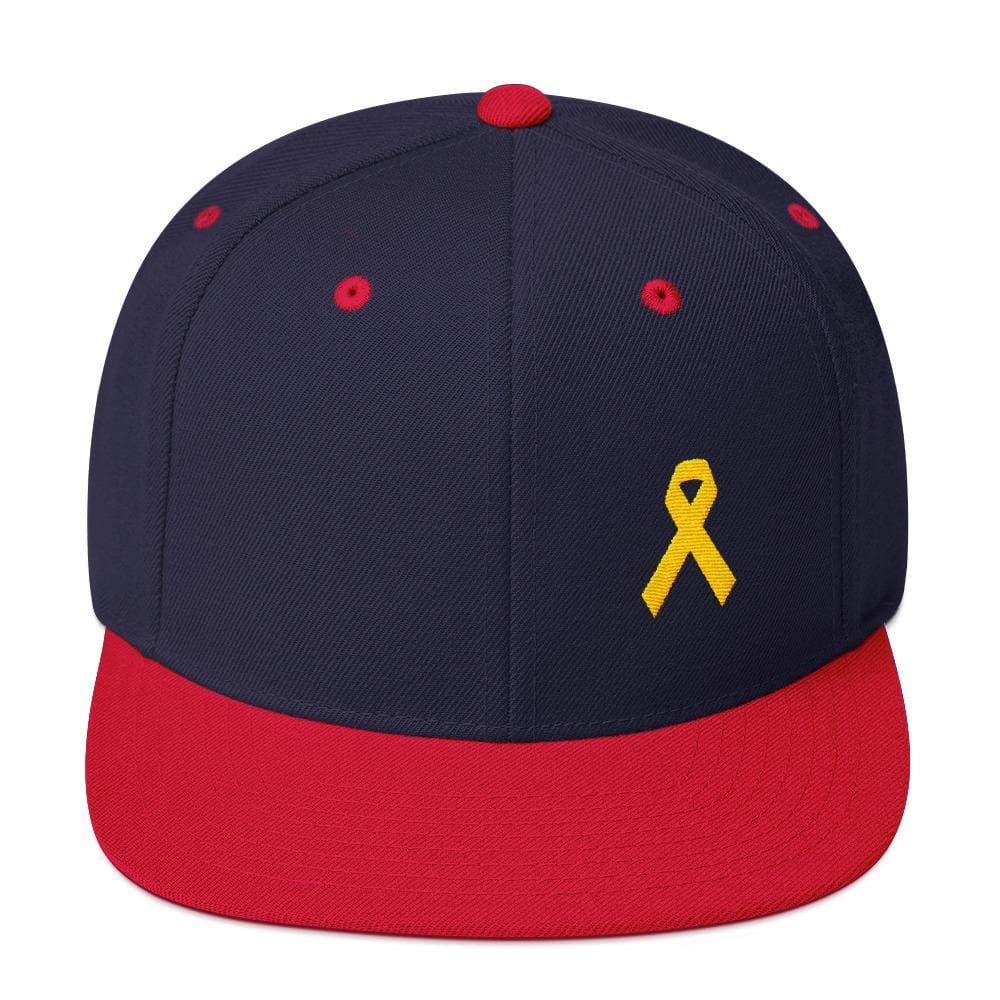 Yellow Awareness Ribbon Flat Brim Snapback Hat for Sarcoma Suicide Prevention & Military Causes - One-size / Navy/ Red - Hats