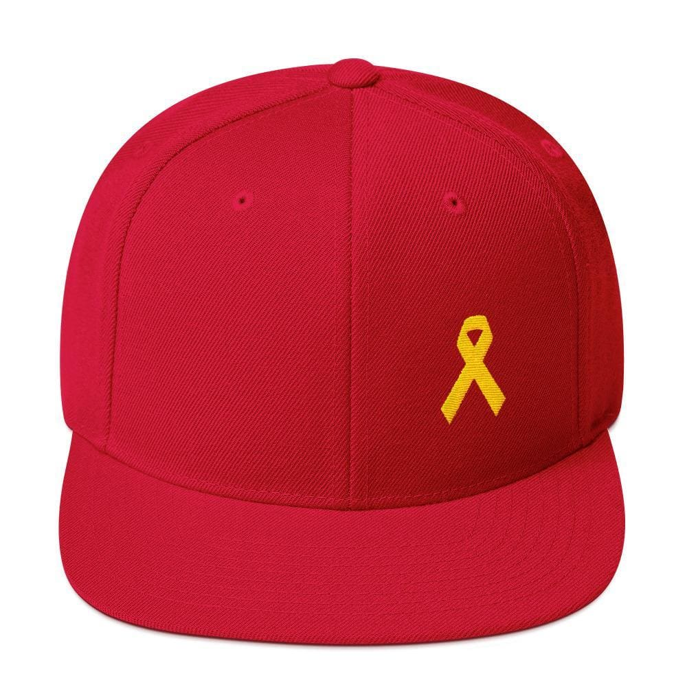 Yellow Awareness Ribbon Flat Brim Snapback Hat for Sarcoma Suicide Prevention & Military Causes - One-size / Red - Hats