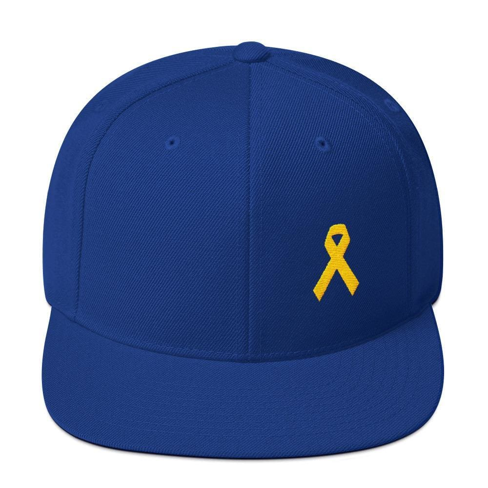 Yellow Awareness Ribbon Flat Brim Snapback Hat for Sarcoma Suicide Prevention & Military Causes - One-size / Royal Blue - Hats