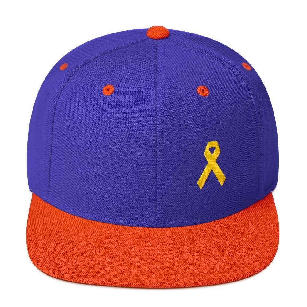 Yellow Awareness Ribbon Flat Brim Snapback Hat for Sarcoma Suicide Prevention & Military Causes - One-size / Royal/ Orange - Hats