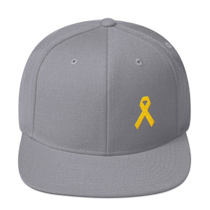 Yellow Awareness Ribbon Flat Brim Snapback Hat for Sarcoma Suicide Prevention & Military Causes - One-size / Silver - Hats
