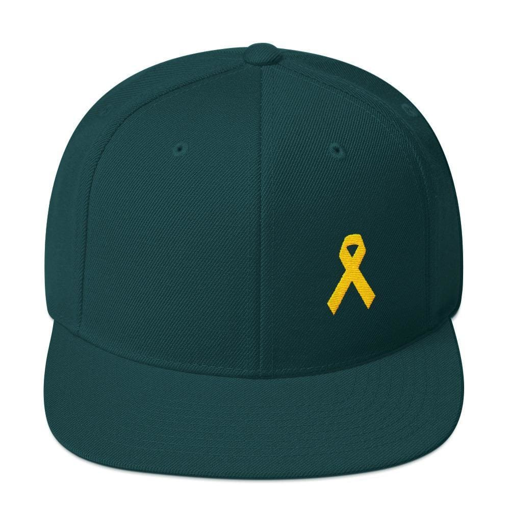 Yellow Awareness Ribbon Flat Brim Snapback Hat for Sarcoma Suicide Prevention & Military Causes - One-size / Spruce - Hats