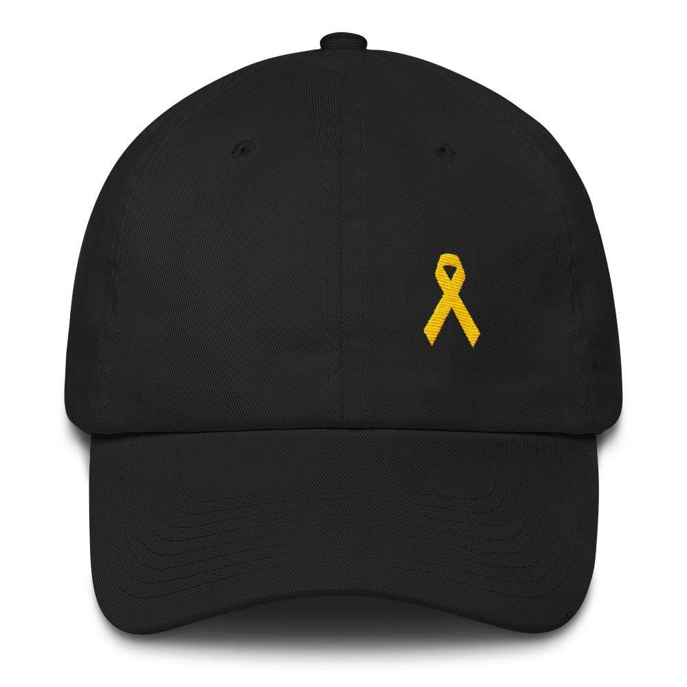 Yellow Ribbon Awareness Dad Hat for Sarcoma Suicide Prevention & Military Causes - One-size / Black - Hats