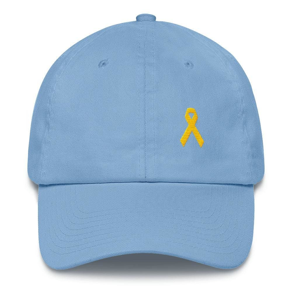 Yellow Ribbon Awareness Dad Hat for Sarcoma Suicide Prevention & Military Causes - One-size / Carolina Blue - Hats