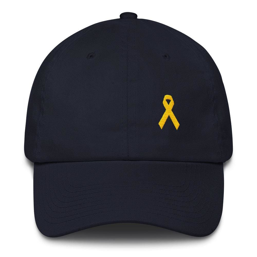 Yellow Ribbon Awareness Dad Hat for Sarcoma Suicide Prevention & Military Causes - One-size / Navy - Hats