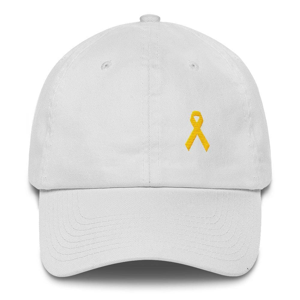 Yellow Ribbon Awareness Dad Hat for Sarcoma Suicide Prevention & Military Causes - One-size / White - Hats