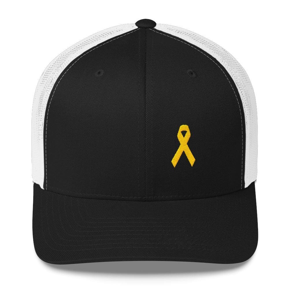 Yellow Ribbon Snapback Trucker Hat for Sarcoma Awareness Military Causes and Suicide Prevention - One-size / Black/ White - Hats