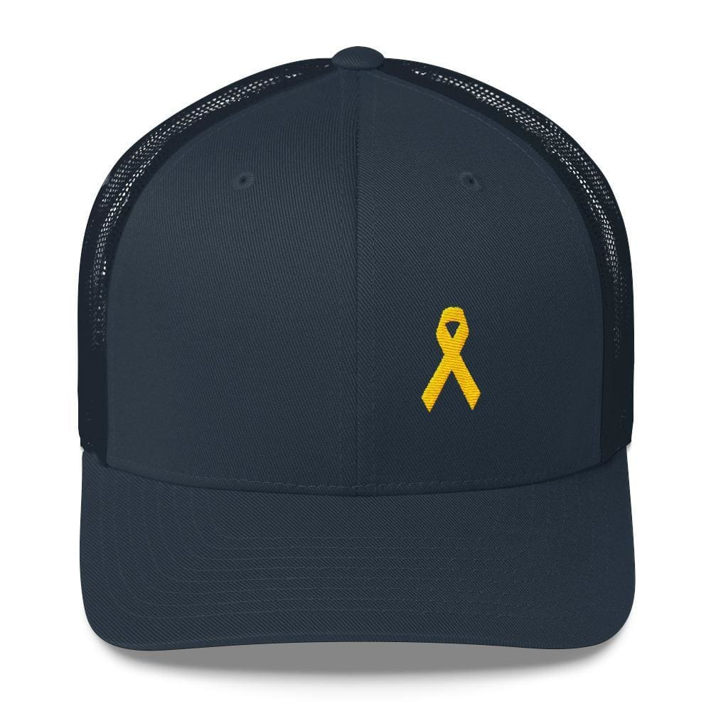 Yellow Ribbon Snapback Trucker Hat for Sarcoma Awareness Military Causes and Suicide Prevention - One-size / Navy - Hats