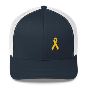 Yellow Ribbon Snapback Trucker Hat for Sarcoma Awareness Military Causes and Suicide Prevention - One-size / Navy/ White - Hats