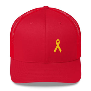 Yellow Ribbon Snapback Trucker Hat for Sarcoma Awareness Military Causes and Suicide Prevention - One-size / Red - Hats