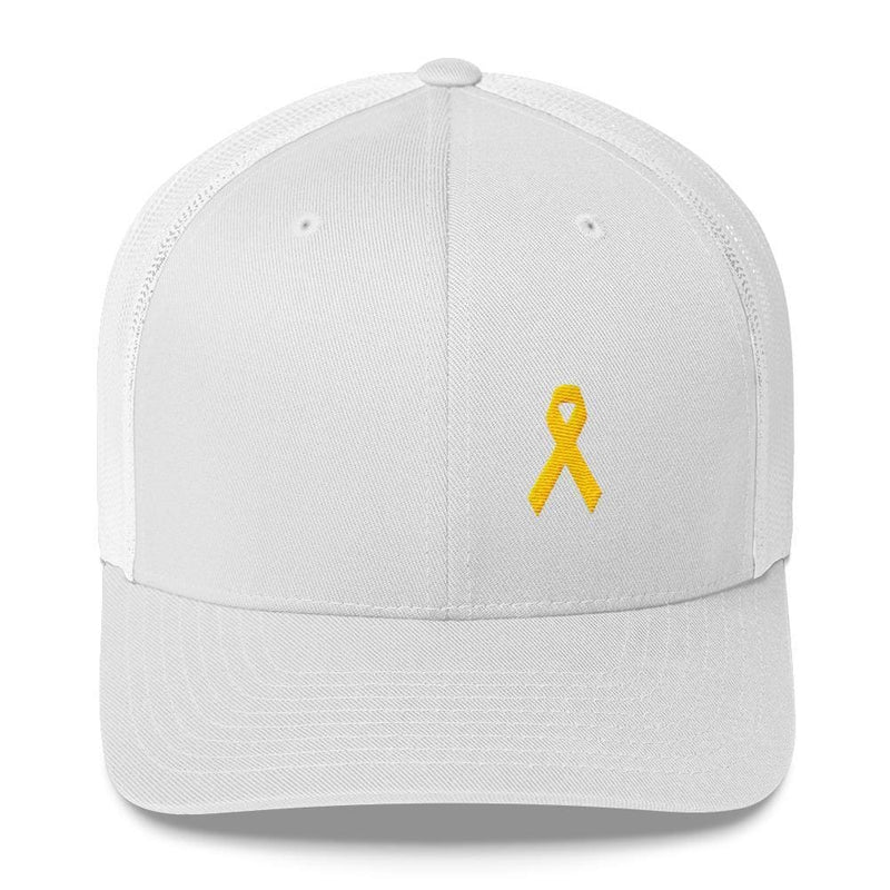 Yellow Ribbon Snapback Trucker Hat for Sarcoma Awareness Military Causes and Suicide Prevention - One-size / White - Hats