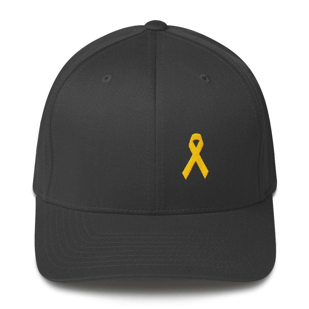 Yellow Ribbon Twill Flexfit Fitted Hat For Sarcoma Awareness Military Causes And Suicide Prevention - S/m / Dark Grey - Hats