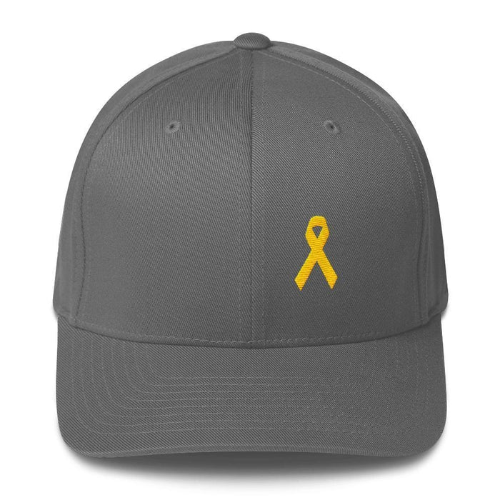 Yellow Ribbon Twill Flexfit Fitted Hat For Sarcoma Awareness Military Causes And Suicide Prevention - S/m / Grey - Hats
