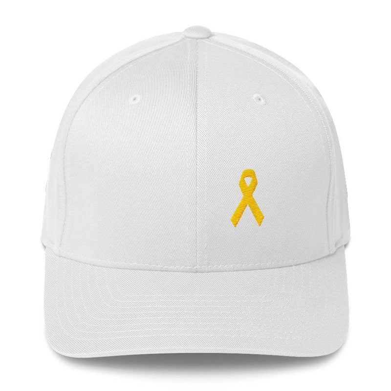 Yellow Ribbon Twill Flexfit Fitted Hat For Sarcoma Awareness Military Causes And Suicide Prevention - S/m / White - Hats