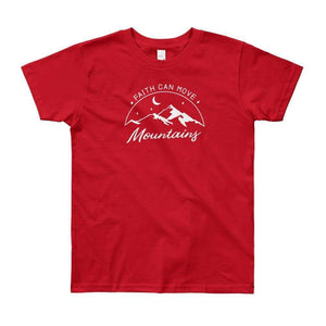 Youth Faith Can Move Mountains T-Shirt - 8Yrs / Red - T-Shirts