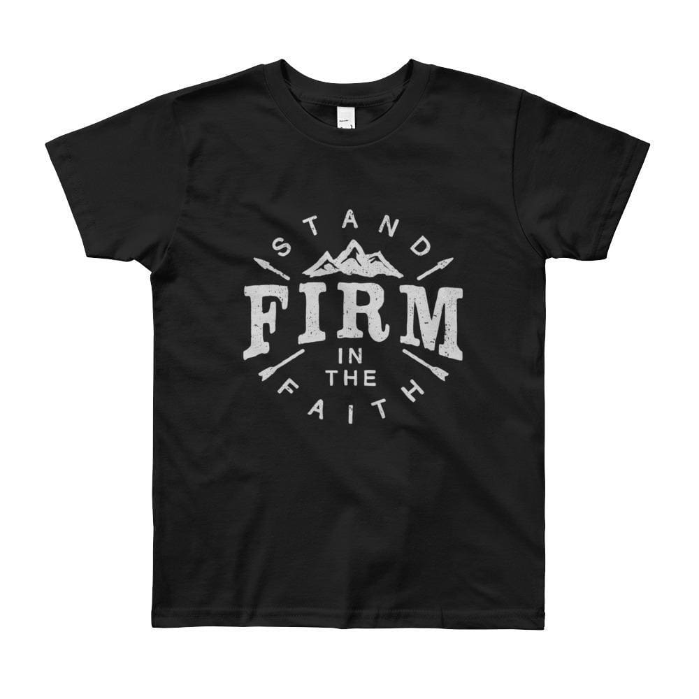 Youth Stand Firm in the Faith Christian T-Shirt - 8yrs / Black - T-Shirts