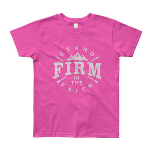 Youth Stand Firm in the Faith Christian T-Shirt - 8yrs / Fuchsia - T-Shirts