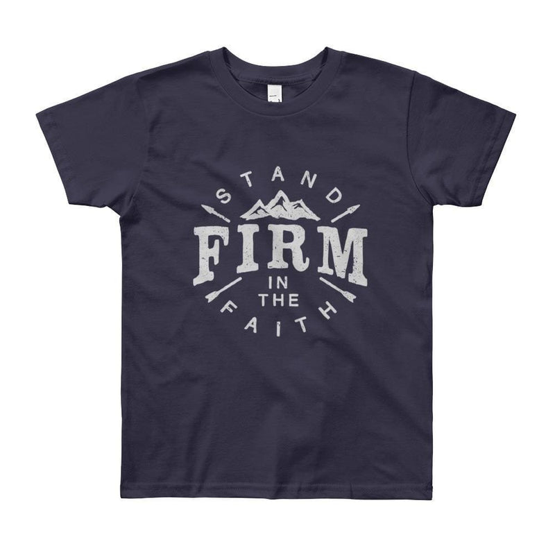 Youth Stand Firm in the Faith Christian T-Shirt - 8yrs / Navy - T-Shirts