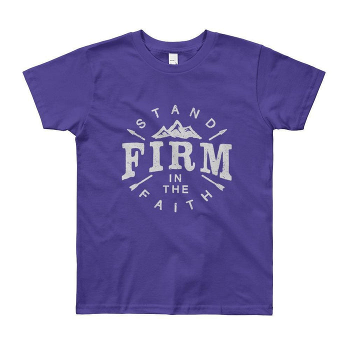 Youth Stand Firm in the Faith Christian T-Shirt - 8yrs / Purple - T-Shirts