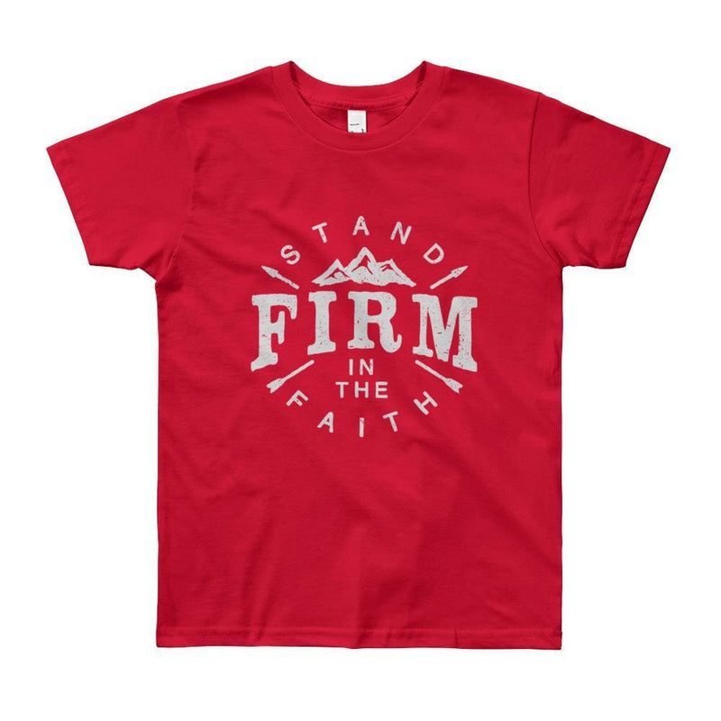 Youth Stand Firm in the Faith Christian T-Shirt - 8yrs / Red - T-Shirts