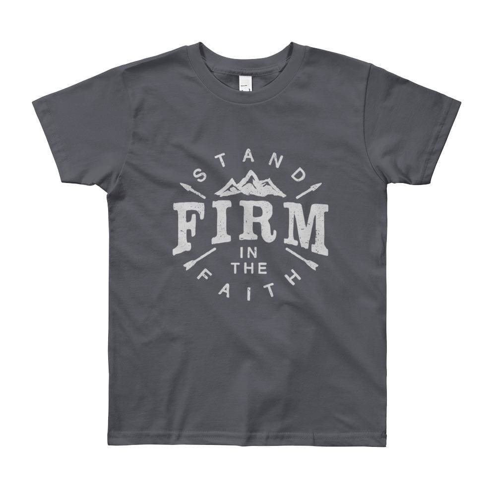 Youth Stand Firm in the Faith Christian T-Shirt - 8yrs / Slate - T-Shirts