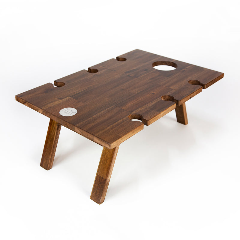 Folding Wine Table - 6 Glass Luxe Hardwood