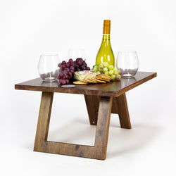Folding Stemless Wine Glass Table - Hardwood