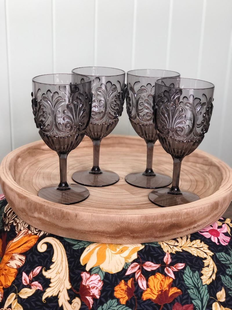 Acrylic Wine Glass-Grey Set of 4