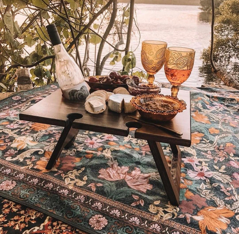 Folding Wine Table - 4 Glass Hardwood
