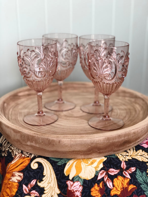 Acrylic Wine Glass-Blush Pink Set of 4