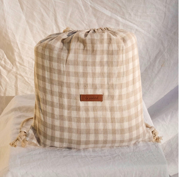 Almond Gingham Linen Picnic Rug-Le Weekend