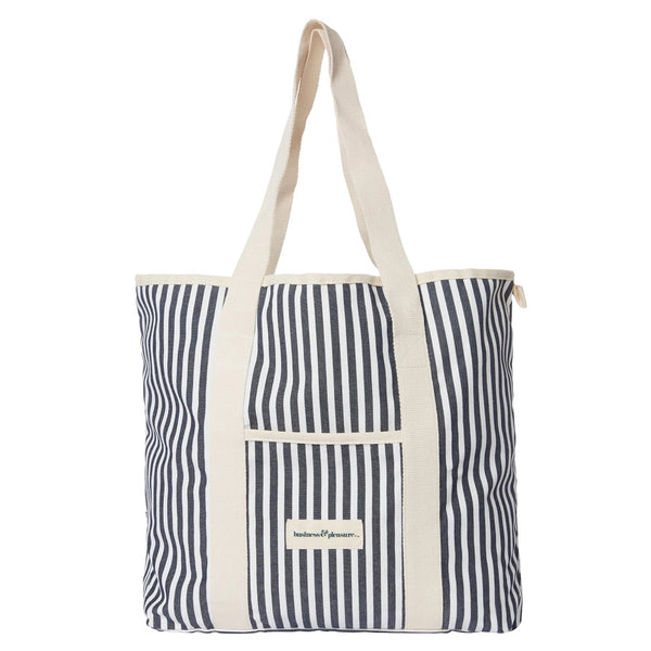 Business and Pleasure Premium Beach Bag-Lauren's Navy Stripe
