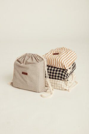 French Pinstripe Linen Picnic Rug- Le Weekend