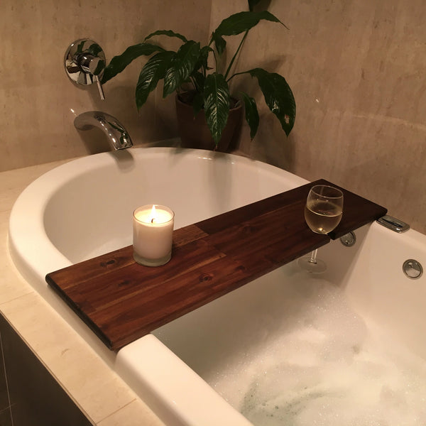Hardwood Bath Caddy with Wine Glass Holder
