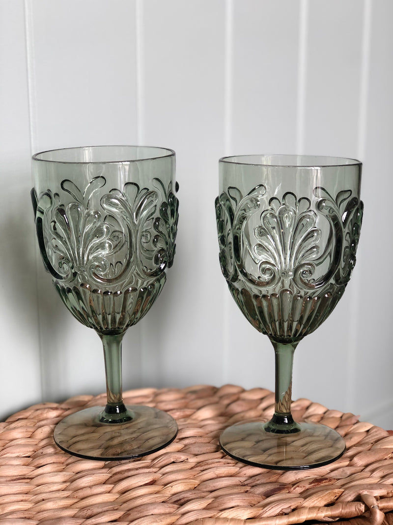 Acrylic Wine Glass-Sage Set of 4