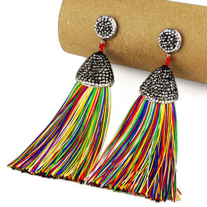 Crystal & Silk Tassel Handmade Earrings