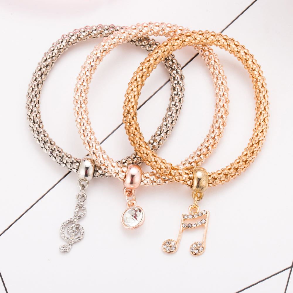 Musical Notes 3 Pcs. Set Crystal Charm  Bracelet