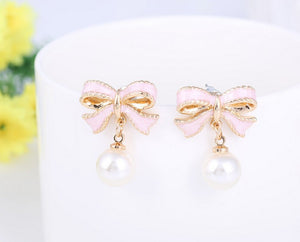 Delicate Pink Bow & Pearl Drops Earrings