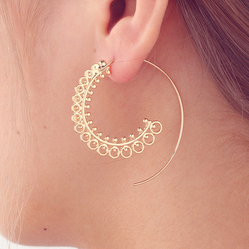 Bohemia Spring Round Spiral Earrings