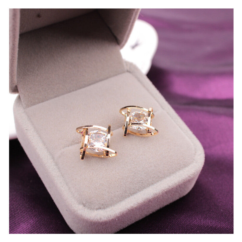 Trendy Square Cross Zircon Earrings
