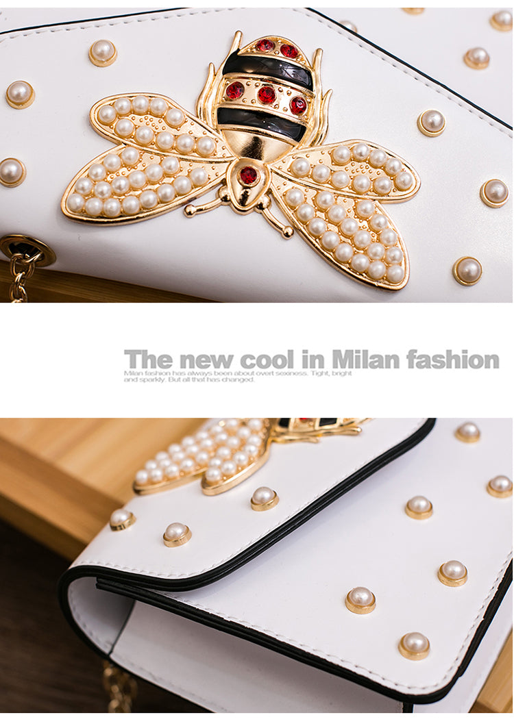 Luxury Rhinestones Bee & Pearl Fashion Handbag