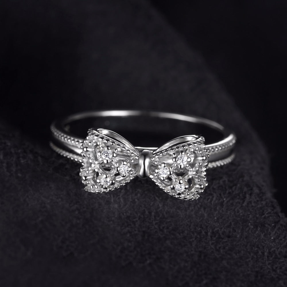 Sterling Silver .925  Bow Cubic Zirconia Ring
