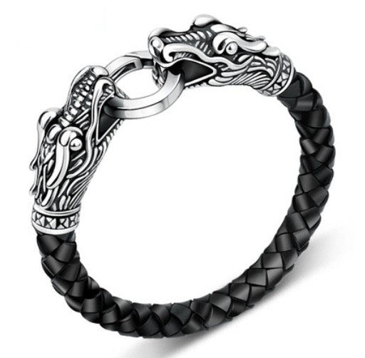 Tibetan Dragon Silver Leather Men Bracelet