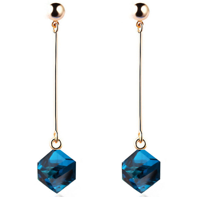 Cube Crystal Charm Earrings