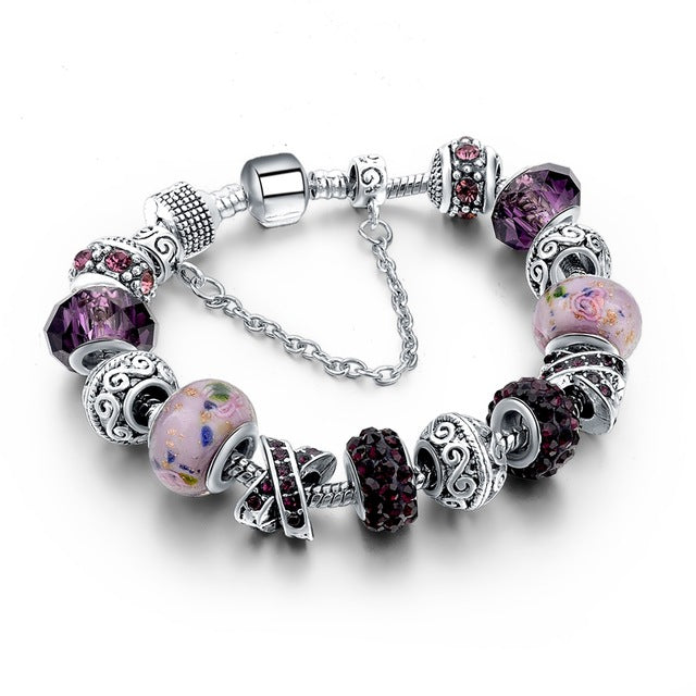 Friendship Silver Plated Charm  Bracelet
