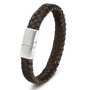 Genuine Leather & Stainless Steel Bracelet for Men