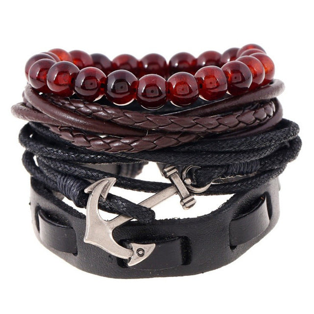 Anchor Genuine Leather 4pcs Set Men Bracelet