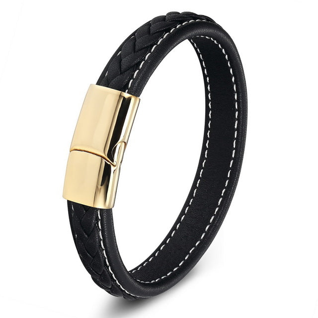 Genuine Leather & Stainless Steel Fashion Men Bracelet