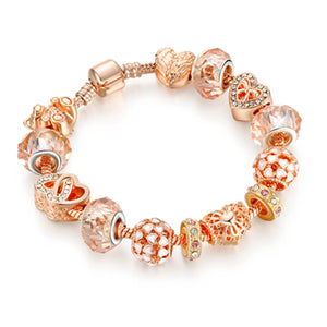 Rose Gold Crystal Beads Charm Bracelet