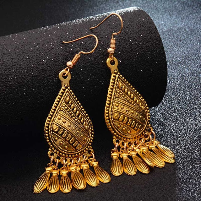 Ethnic Indian Tassel Dangle Earrings